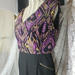 Shoshanna Silk Print Dress Zip Pocket Size 10